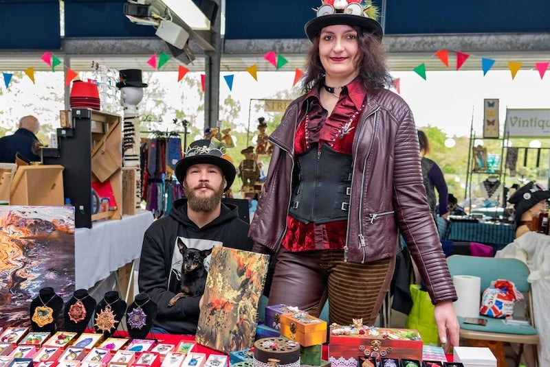 Steampunk Trade Stand and people