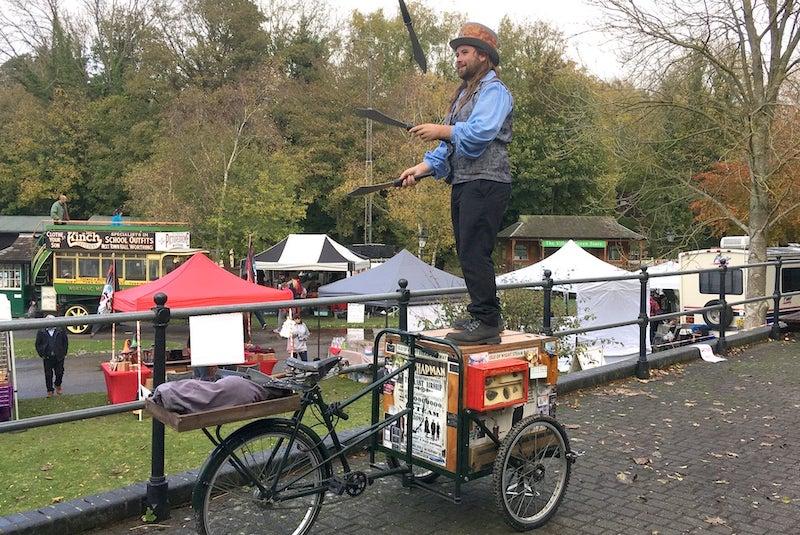 Steampunk performer juggler